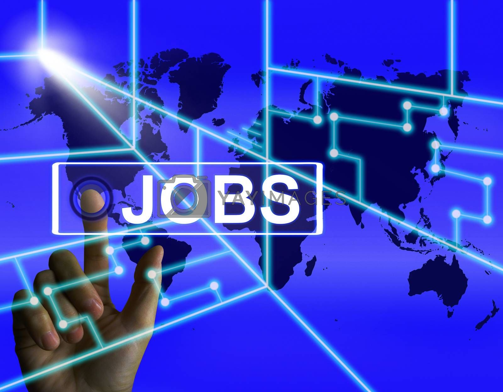 Jobs Screen Represents Worldwide or Internet Career Search by stuartmiles