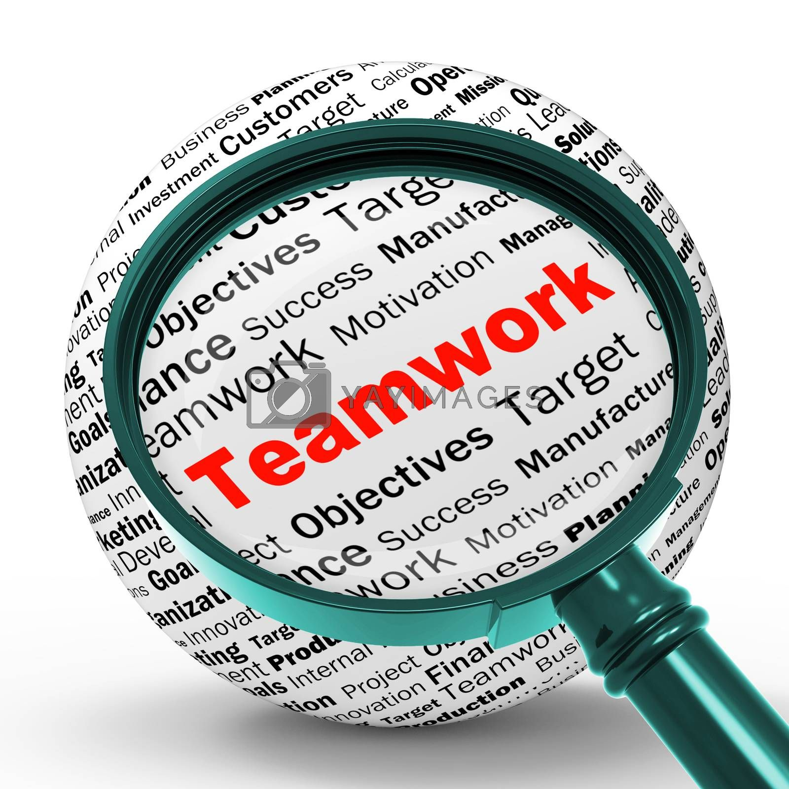 Teamwork Magnifier Definition Means Unity And Partnership by stuartmiles