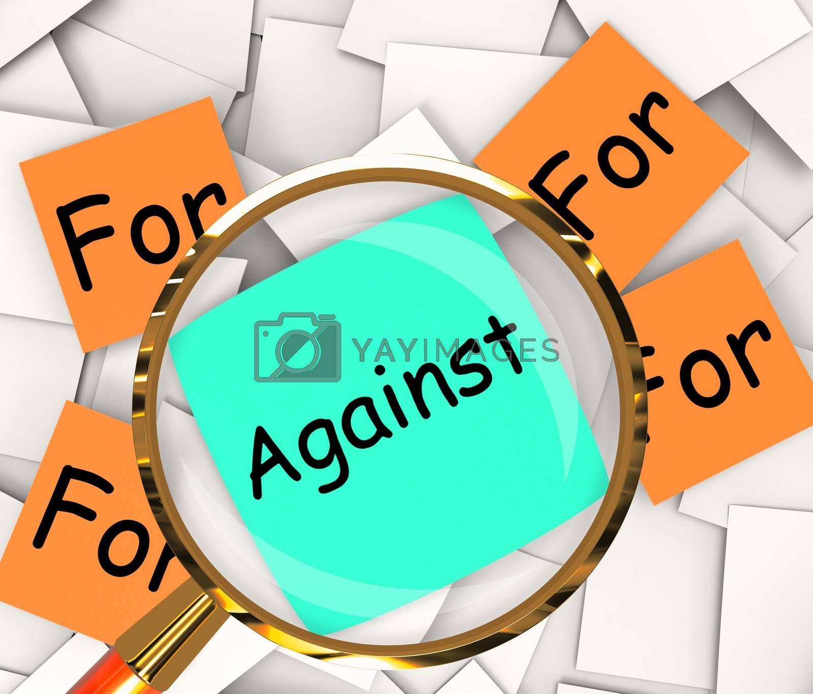 For Against Post-It Papers Shows Supporting Or Opposed To by stuartmiles