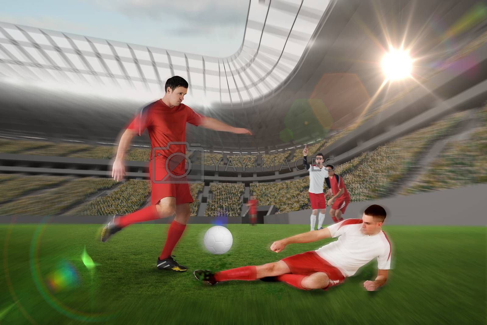 Football player in red kicking by Wavebreakmedia