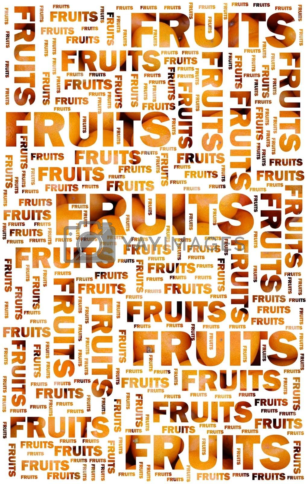 Fruits text with oranges by alessandro0770