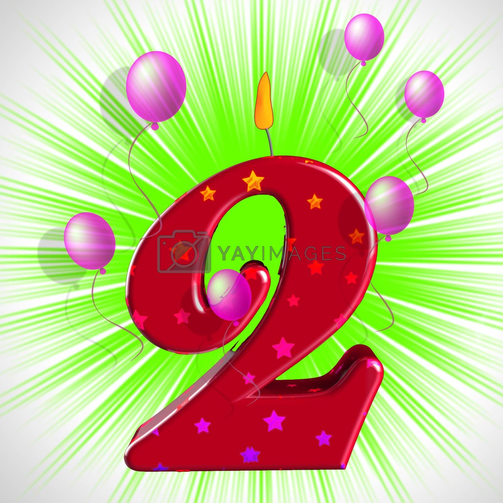 Number Two Party Means Second Birthday Or Celebration by stuartmiles