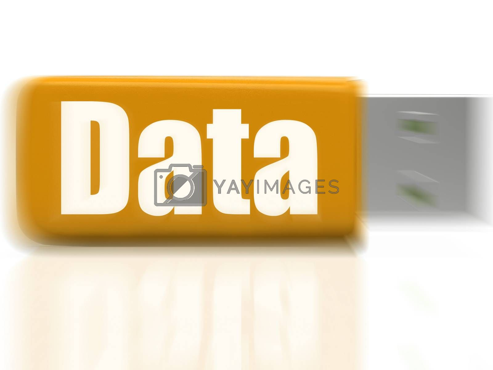 Data USB drive Shows Digital Information And Dataflow by stuartmiles