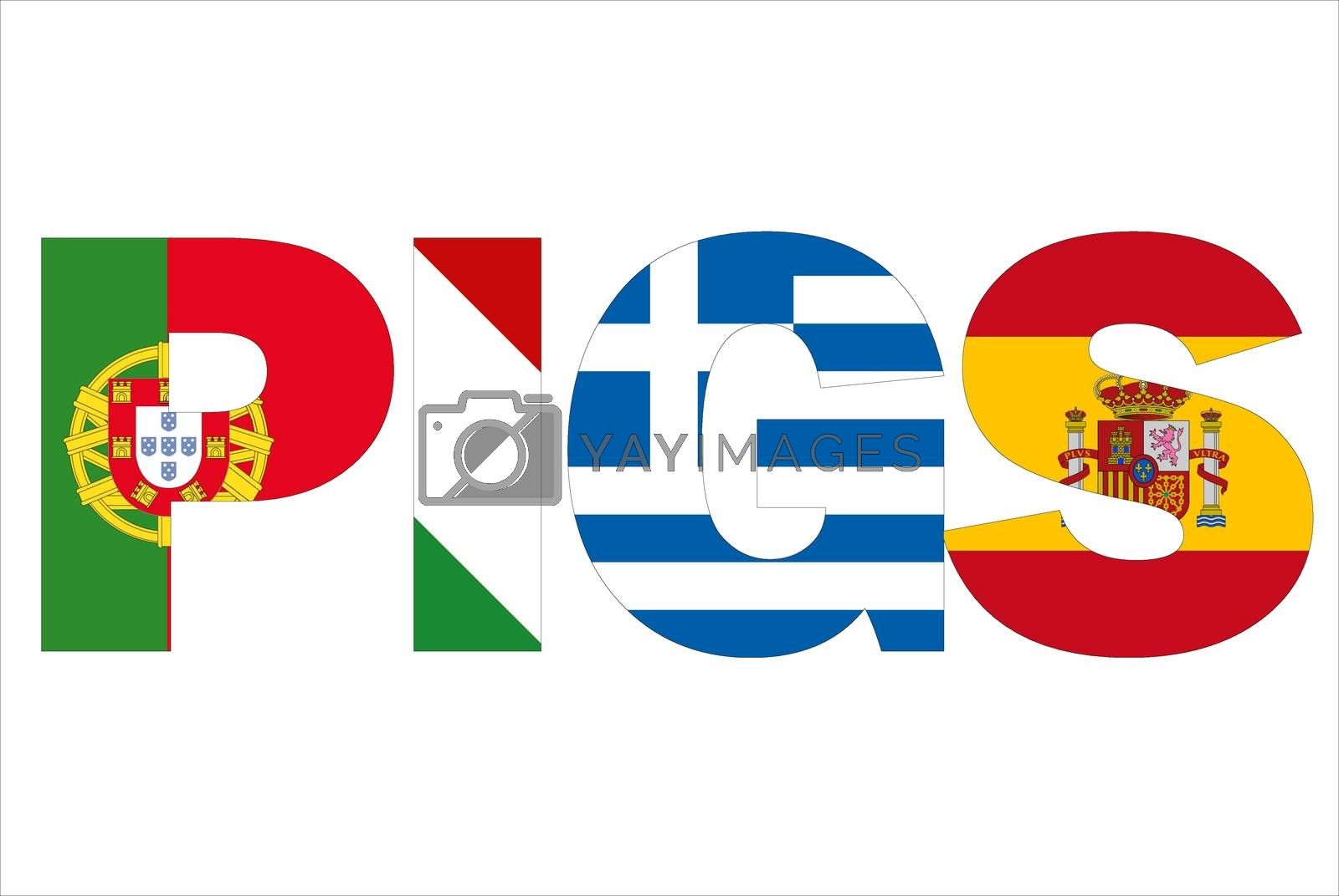 PIGS text written with flags by alessandro0770
