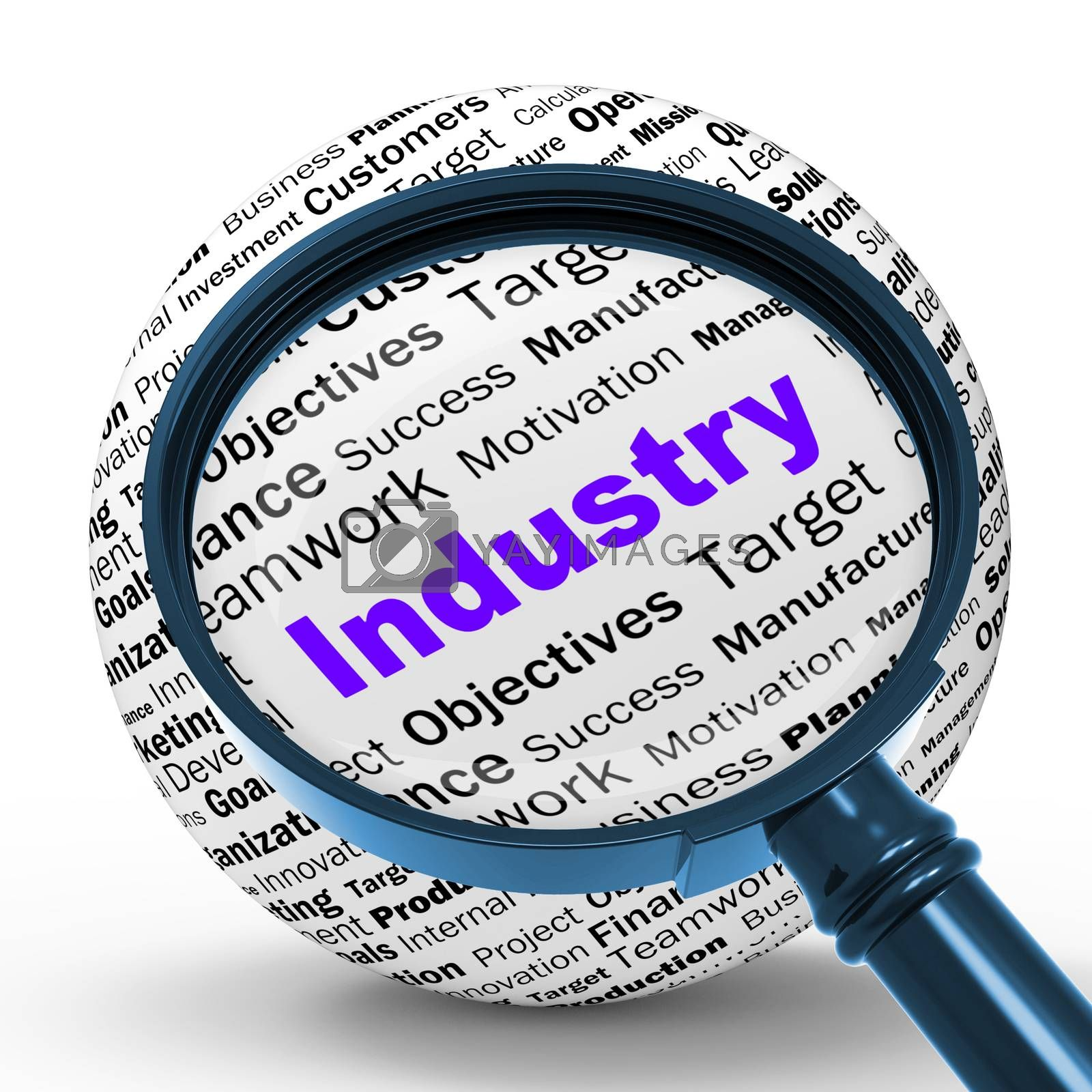 Industry Magnifier Definition Means Local Production Or Engineer by stuartmiles