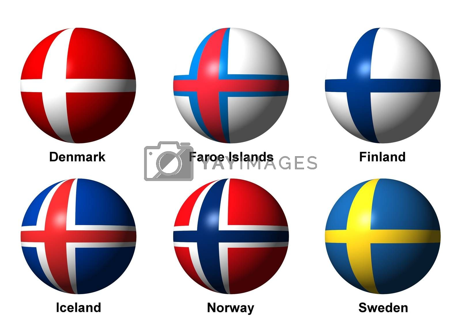 Collage of Scandinavian flags with labels by alessandro0770