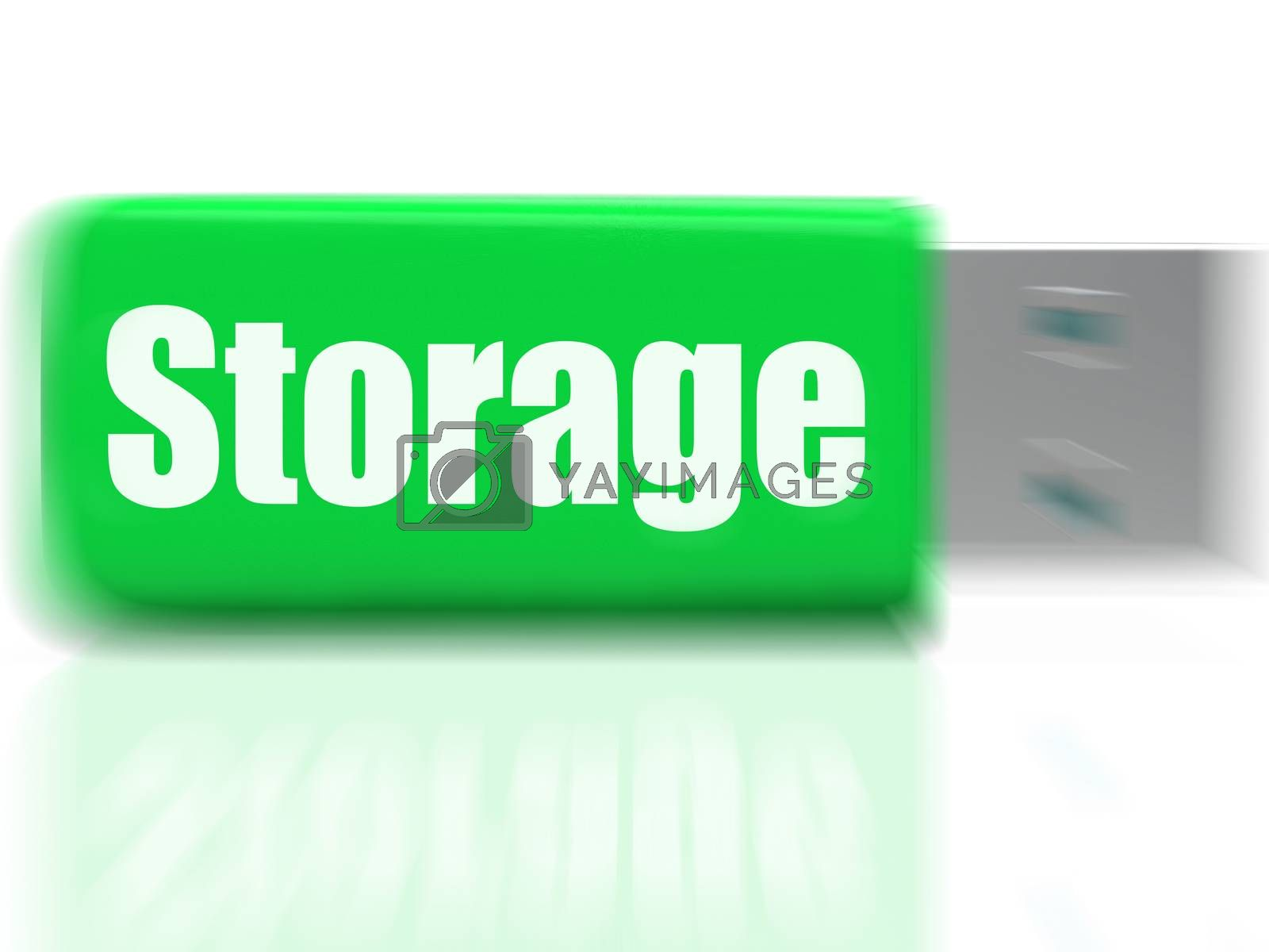 Storage USB drive Shows Data Backup Or Warehousing by stuartmiles