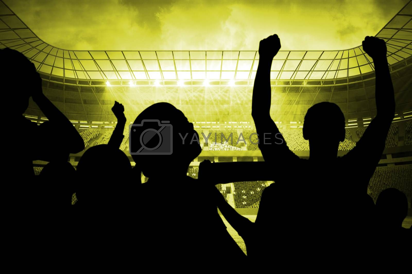 Silhouettes of football supporters by Wavebreakmedia