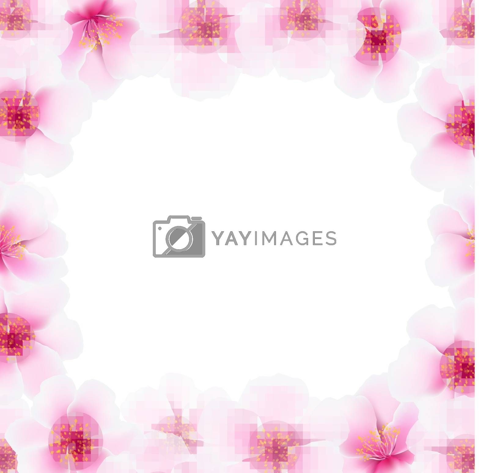 Cherry Flower Frame With Blur by barbaliss