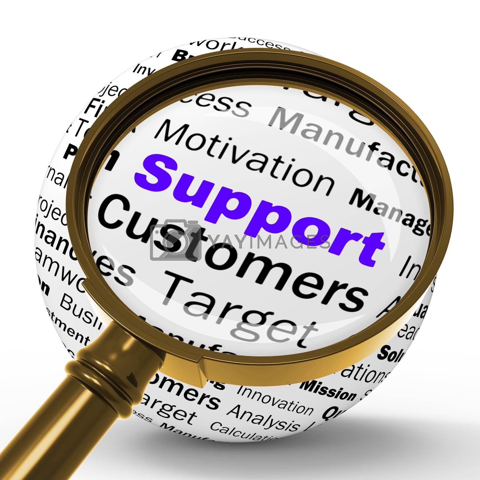Support Magnifier Definition Shows Customer Support Or Assistanc by stuartmiles