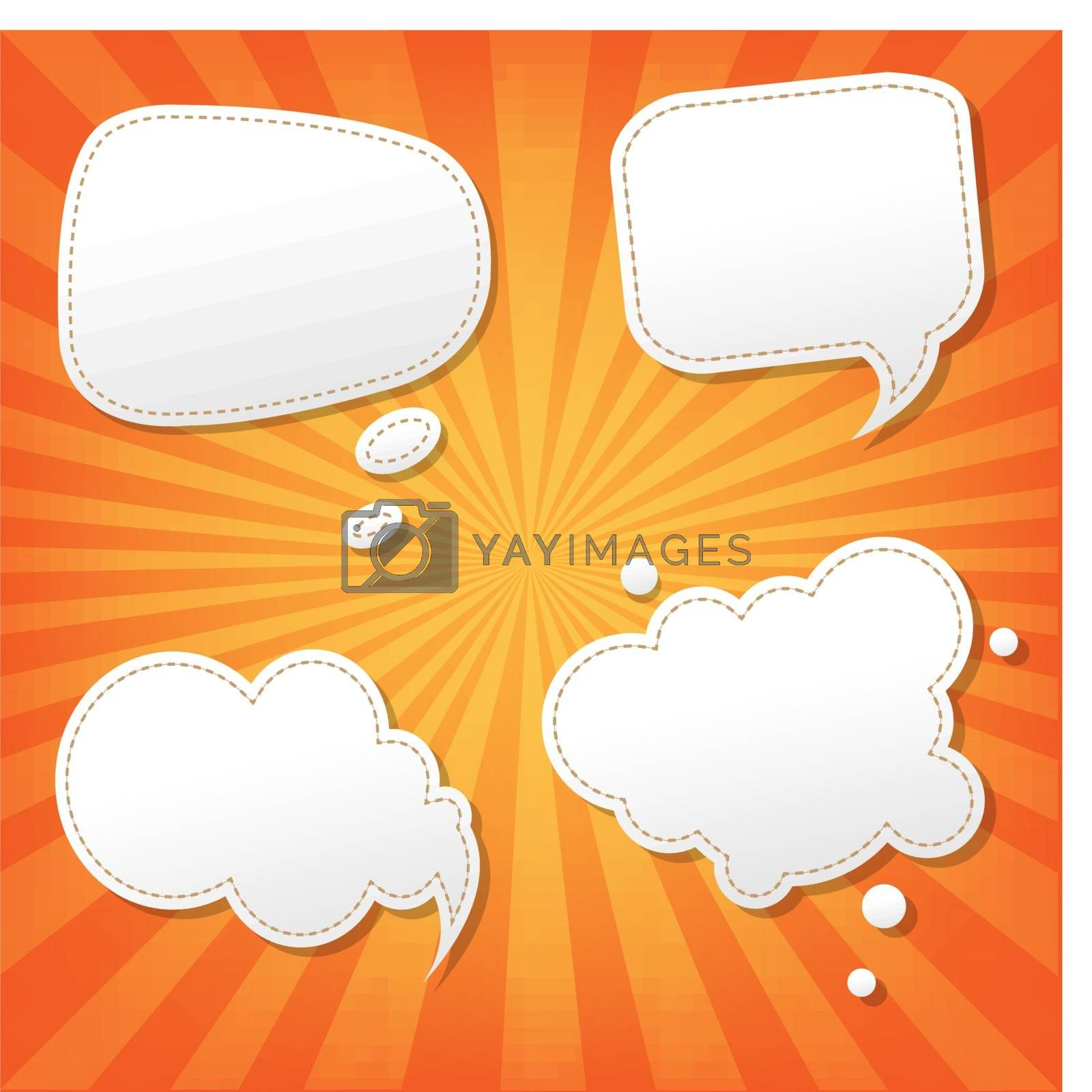Orange Sunburst Poster With Speech Bubble by barbaliss