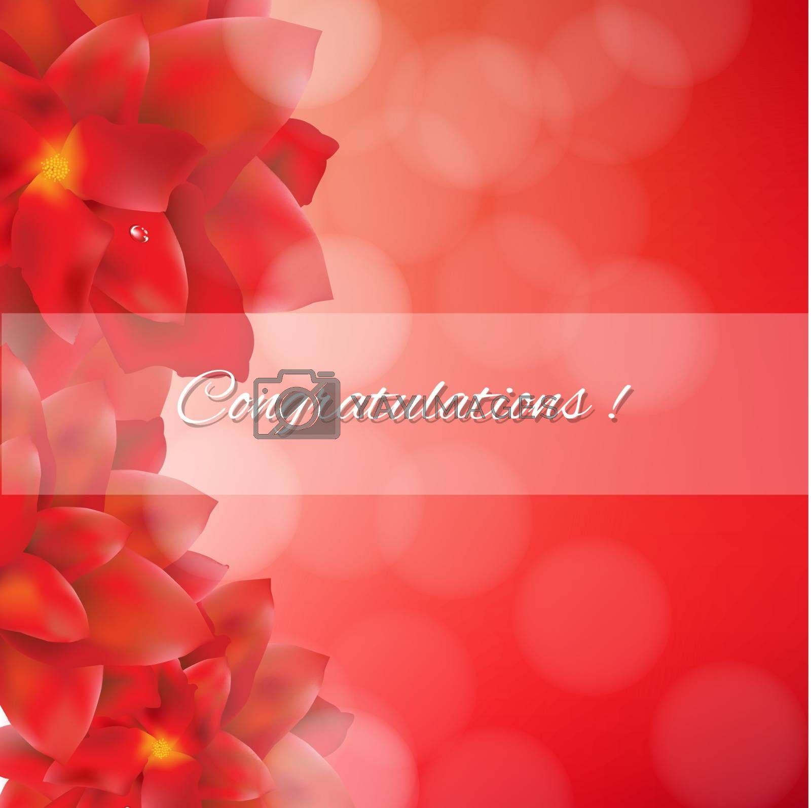 Red Flowers Card With Bokeh by barbaliss