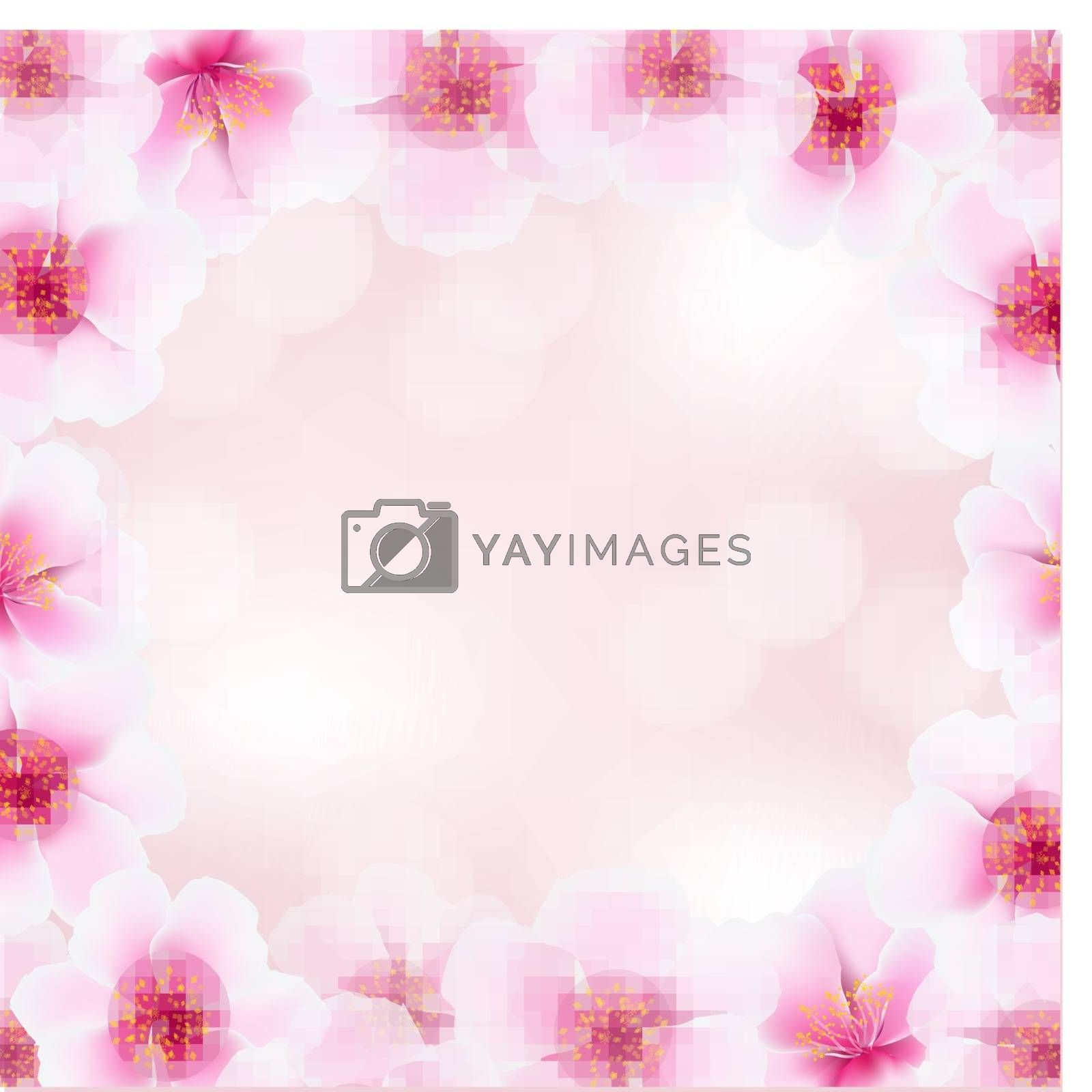 Cherry Flower Frame With Blurred Background by barbaliss