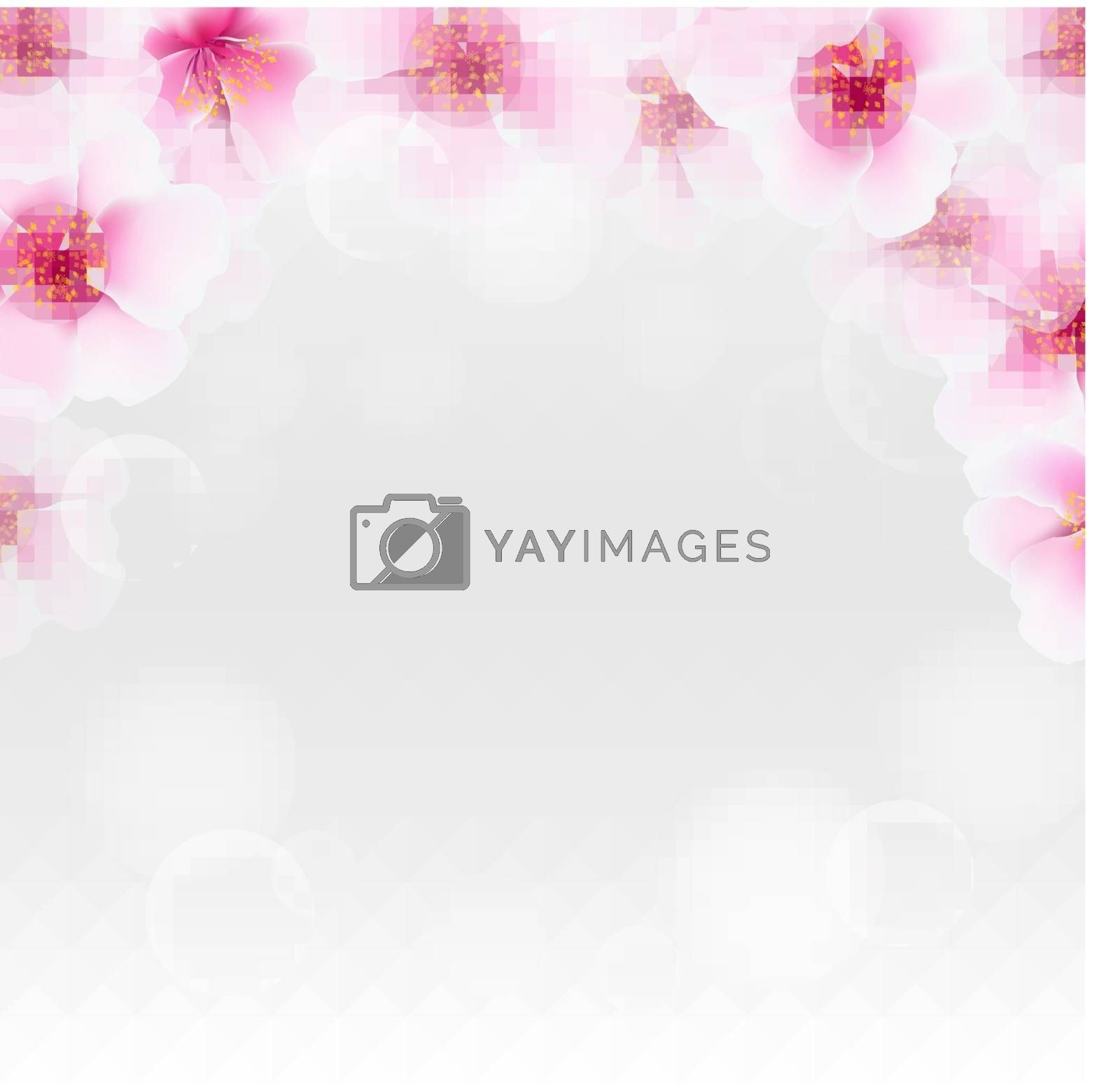 Cherry Flower Border With Blur by barbaliss