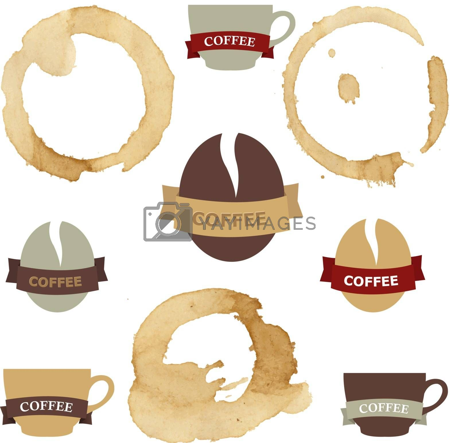 Coffee Stains With Symbols Set by barbaliss