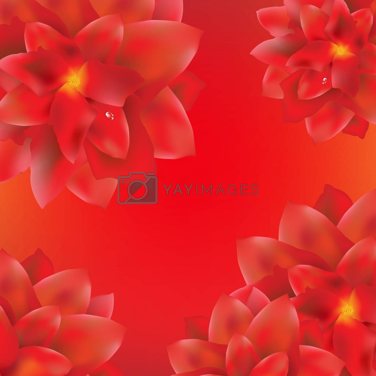 Card With Red Flowers Border by barbaliss