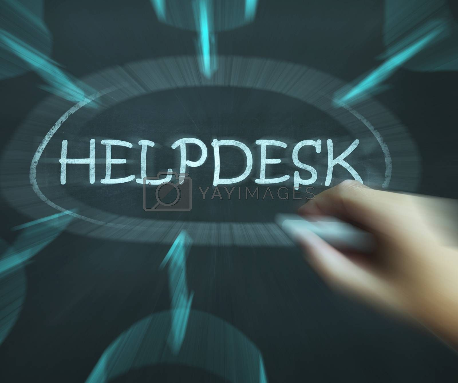 Helpdesk Diagram Shows Support Solutions And Advice by stuartmiles