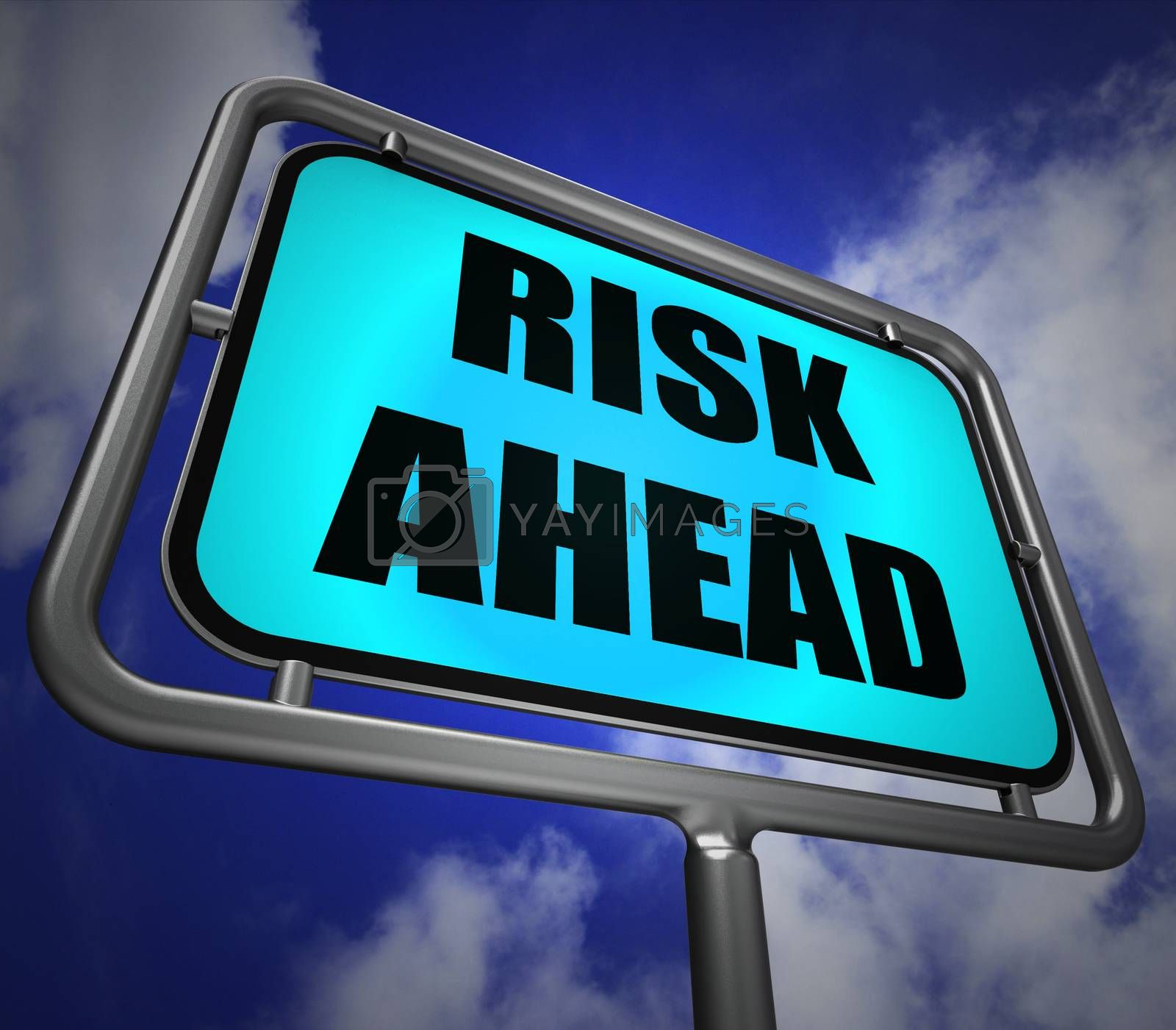 Risk Ahead Signpost Shows Dangerous Unstable and Insecure Warnin by stuartmiles