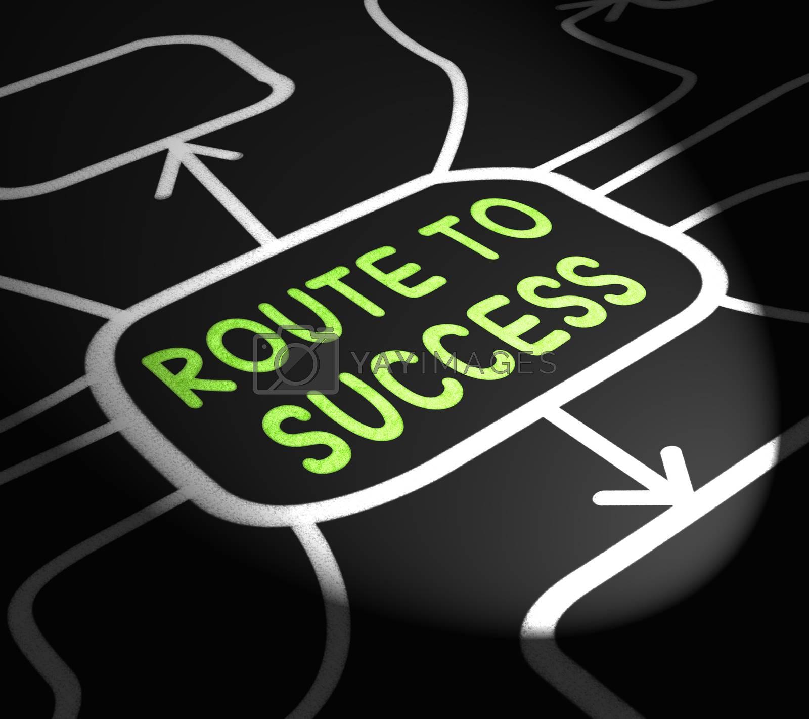 Route To Success Arrows Shows Path For Achievement by stuartmiles