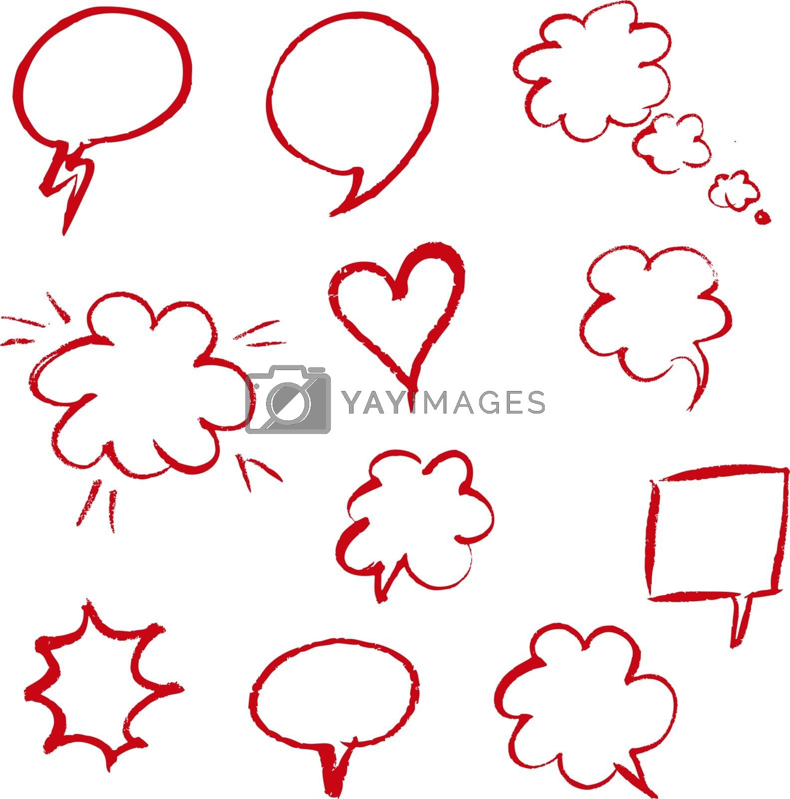 Red Hand Draw Speech Bubble by barbaliss