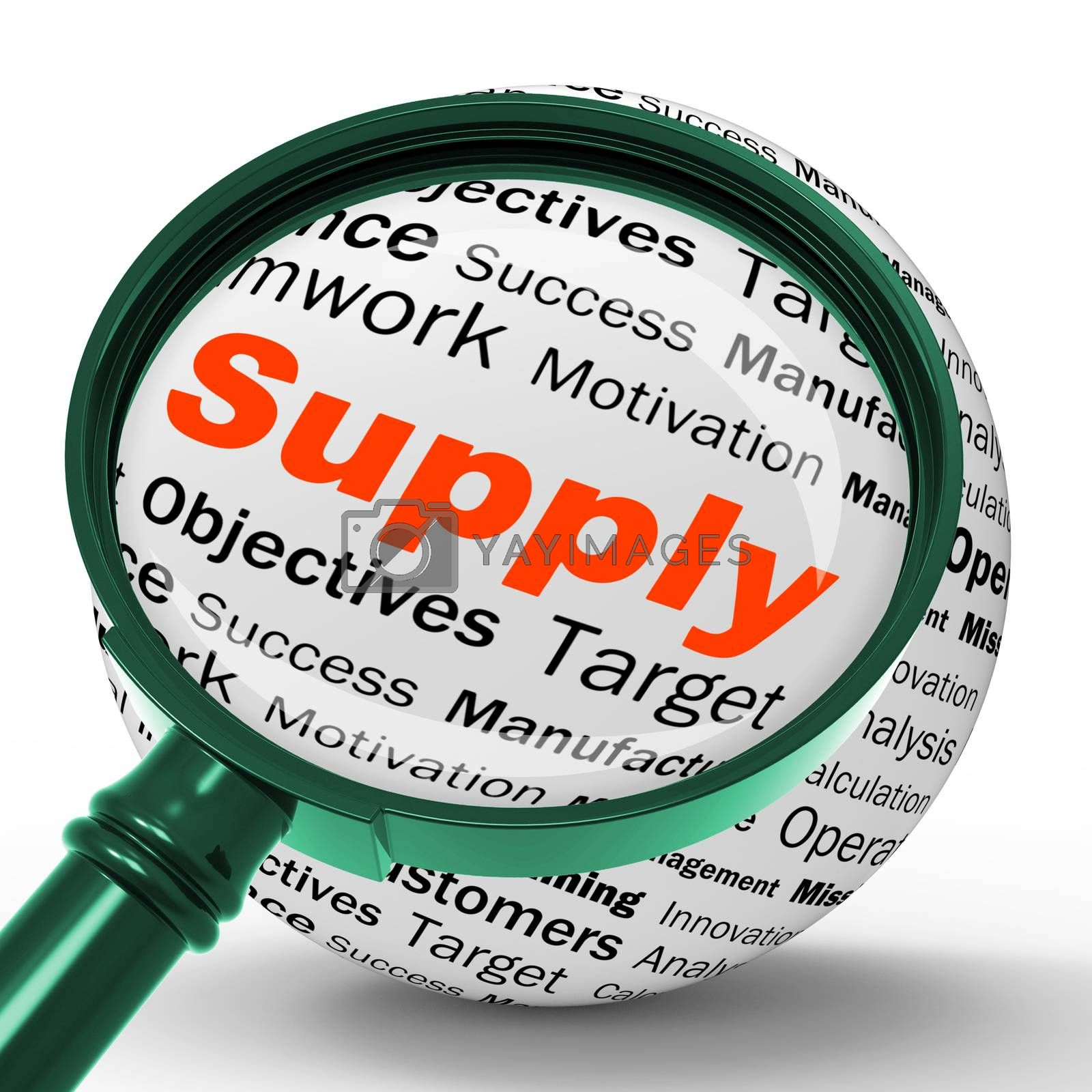 Supply Magnifier Definition Shows Goods Provision Or Product Dem by stuartmiles