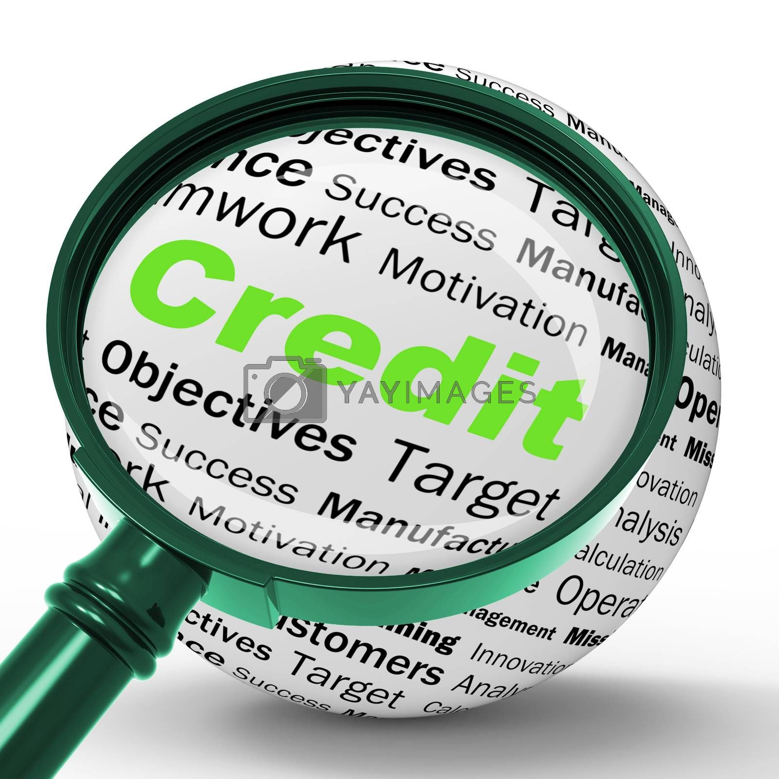 Credit Magnifier Definition Shows Cashless Purchases Or Financia by stuartmiles