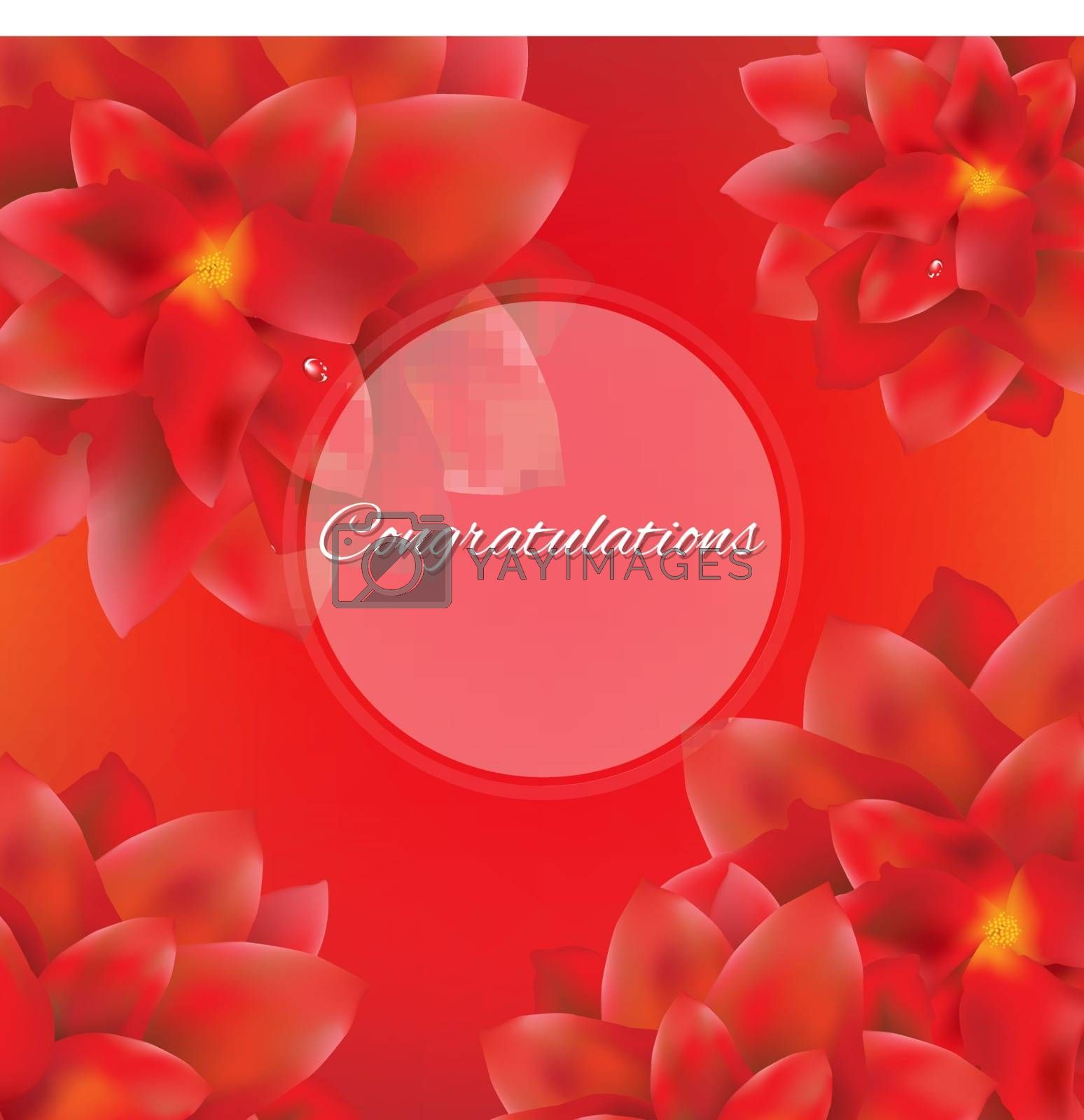 Card With Red Flowers by barbaliss
