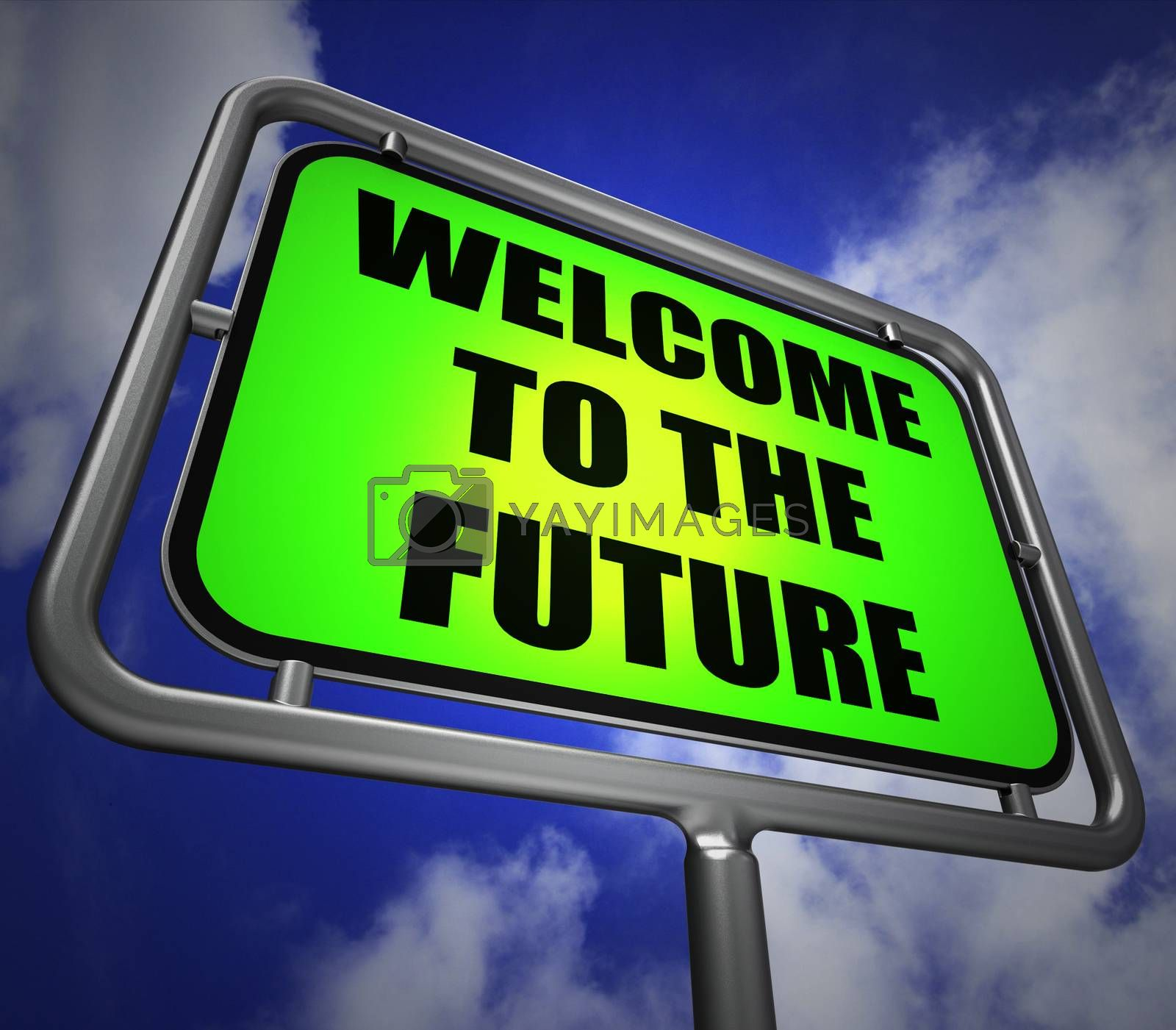 Welcome to the Future Signpost Indicates Imminent Arrival of Tim by stuartmiles