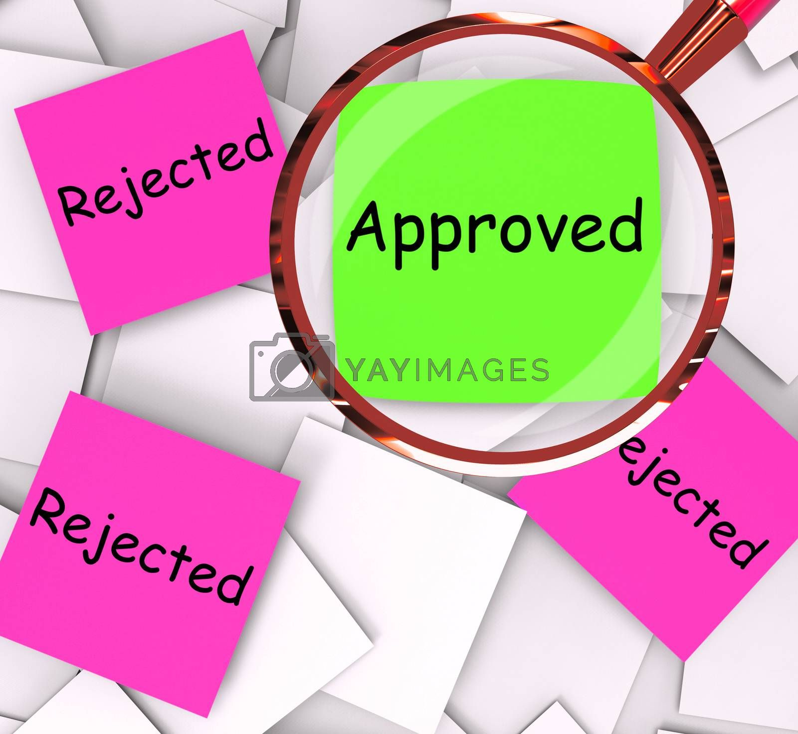 Approved Rejected Post-It Papers Means Approval Or Rejection by stuartmiles