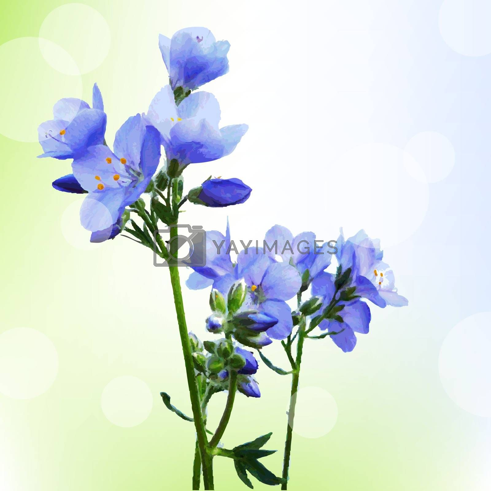 Blue Watercolor Flowers With Bokeh by barbaliss