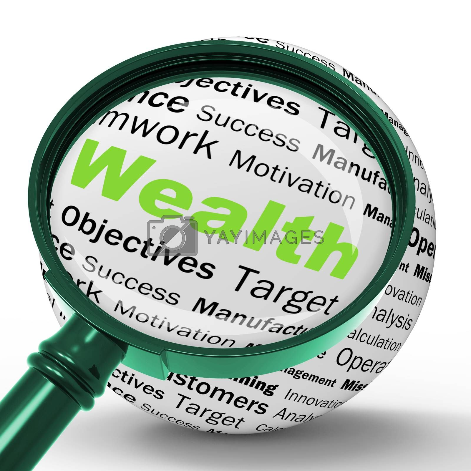 Wealth Magnifier Definition Shows Fortune Or Accounting Treasure by stuartmiles