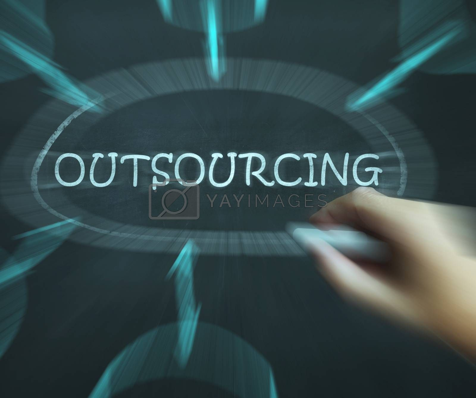 Outsourcing Diagram Means Freelance Workers And Contractors by stuartmiles