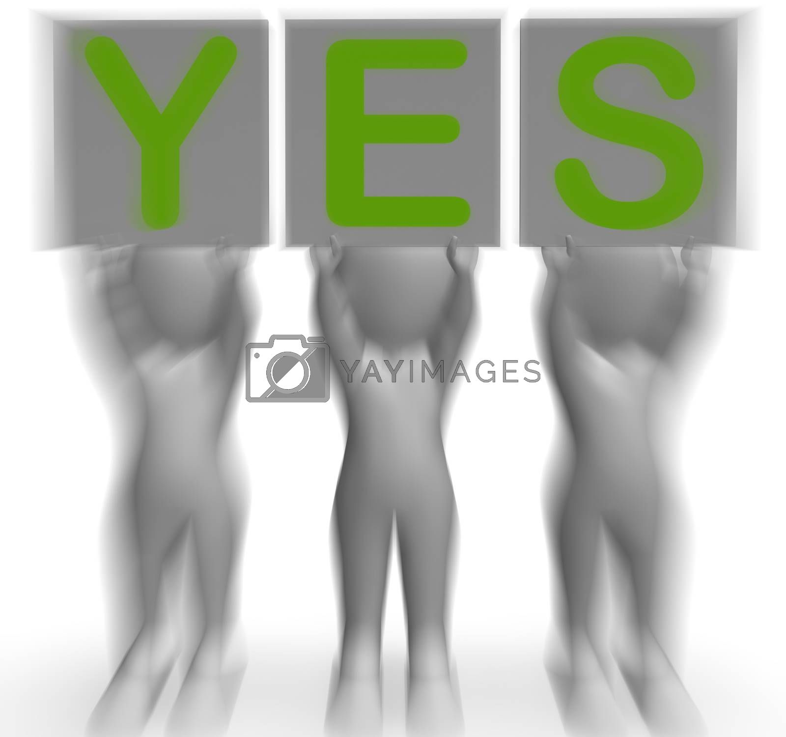 Yes Placards Shows Positivity Success And Approval by stuartmiles