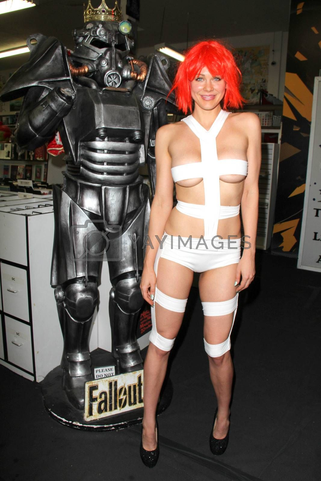 "Maitland Ward trying out her ""Leeloo"" costume from the Fifth Element before going to Long Beach Comic-Con, Meltdown Comics, Los Angeles, CA 05-31-14/ImageCollect by ImageCollect"