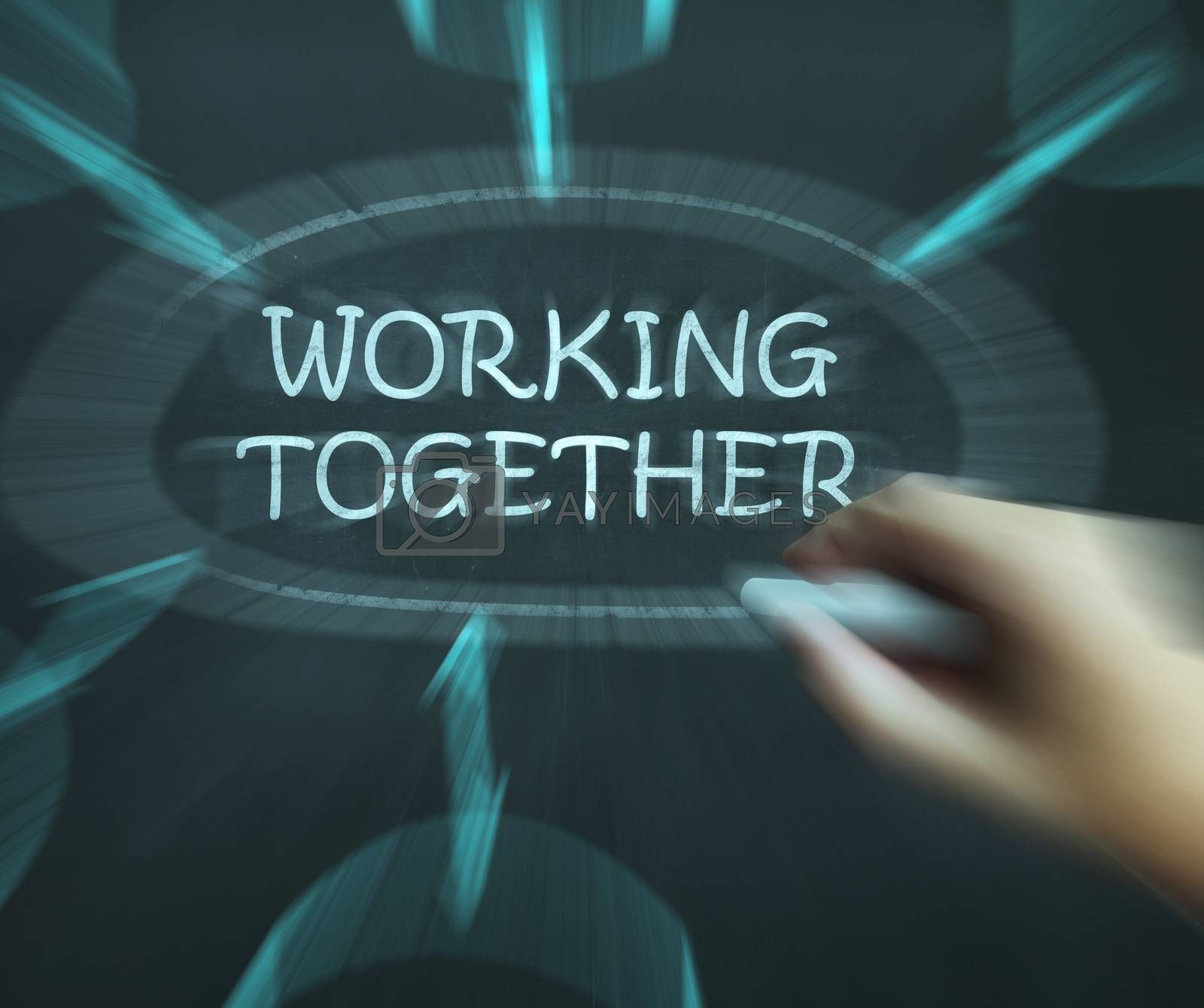 Working Together Diagram Means Teams And Cooperating by stuartmiles