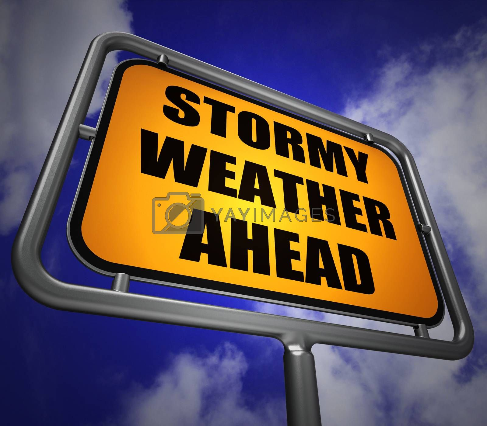 Stormy Weather Ahead Signpost Shows Storm Warning or Danger by stuartmiles