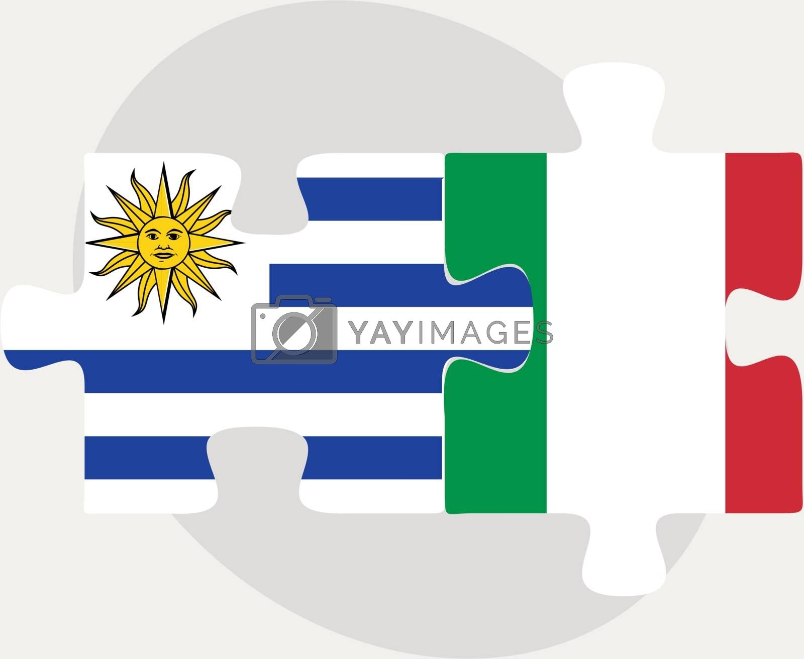 Uruguay and Italy Flags in puzzle by Istanbul2009