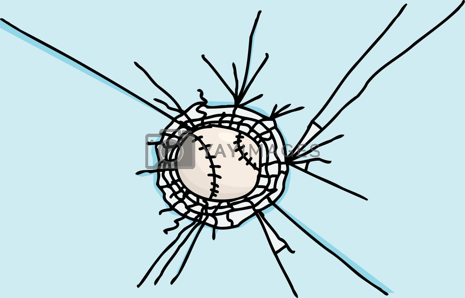 Baseball Stuck in Glass by TheBlackRhino