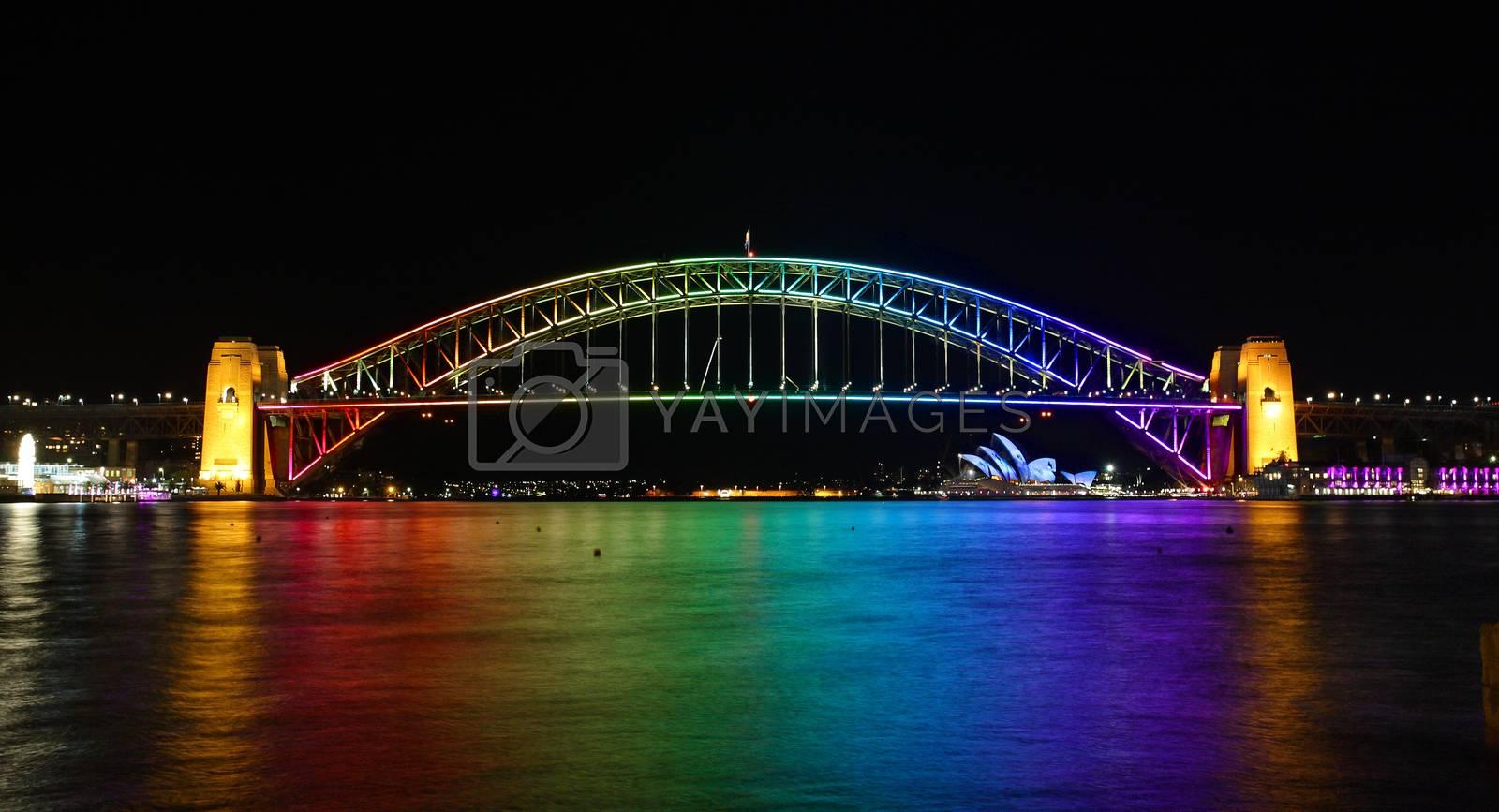 Sydney Harbour Bridge, Australia in rainbow colours by lovleah
