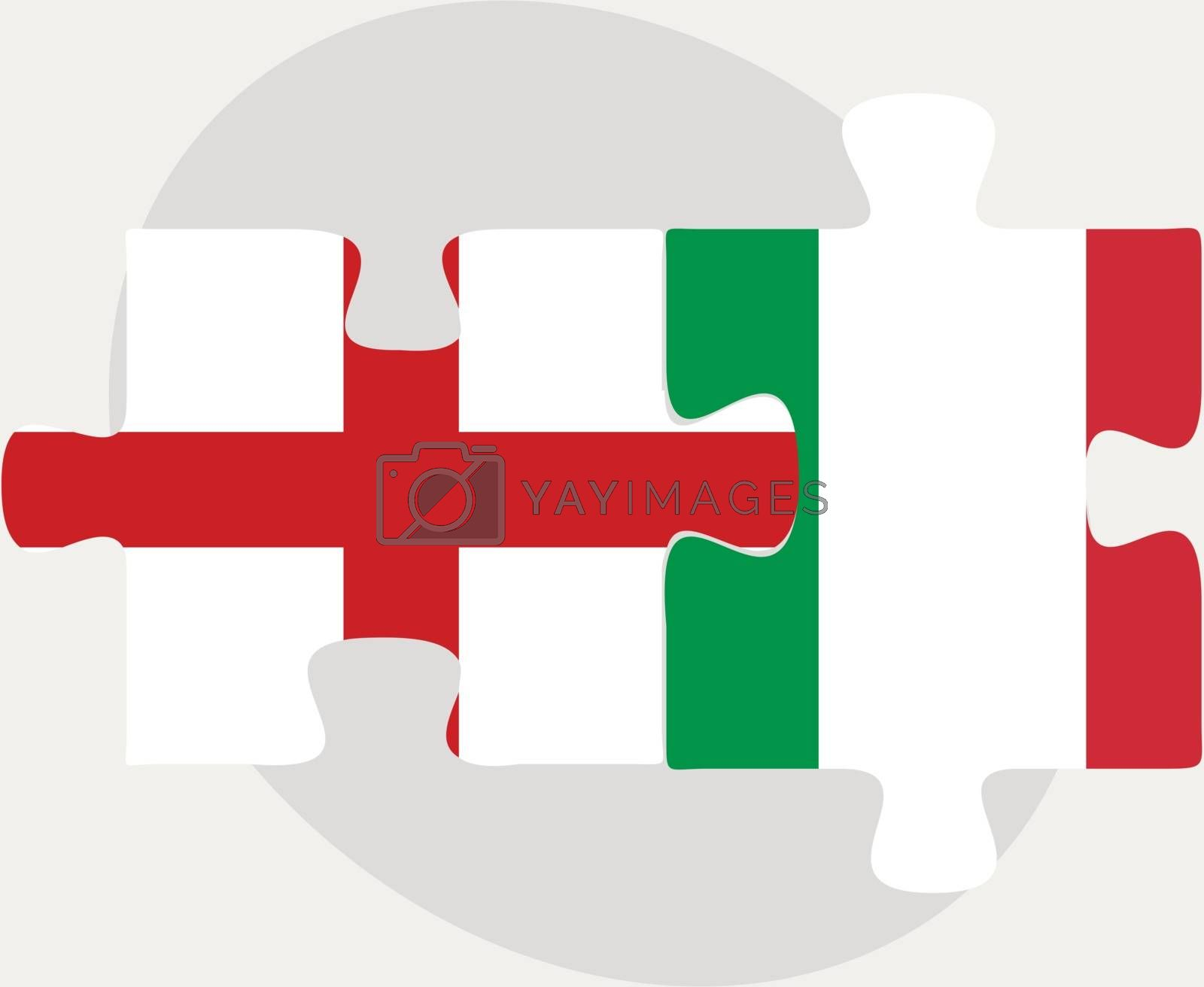 England and Italy Flags in puzzle by Istanbul2009
