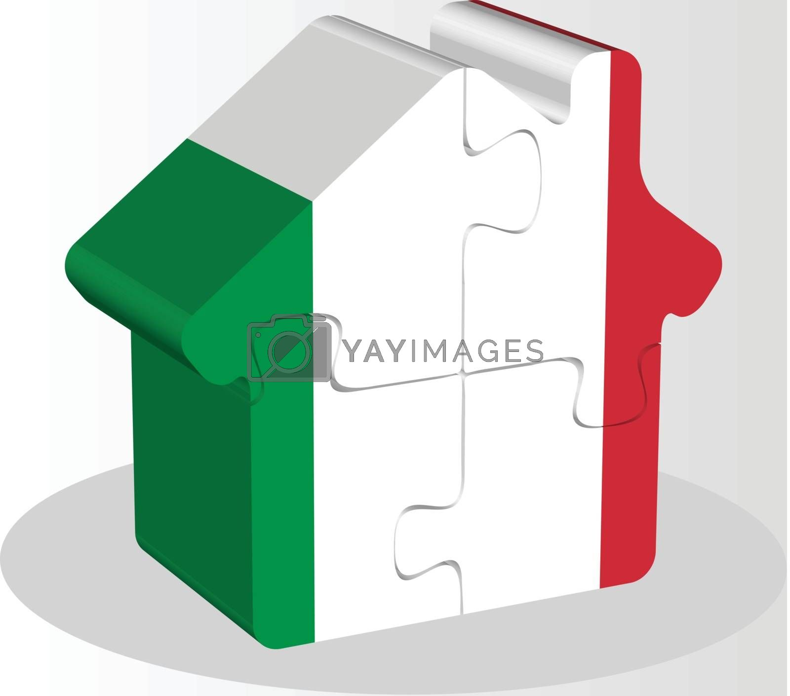 house home icon with Italy flag in puzzle by Istanbul2009