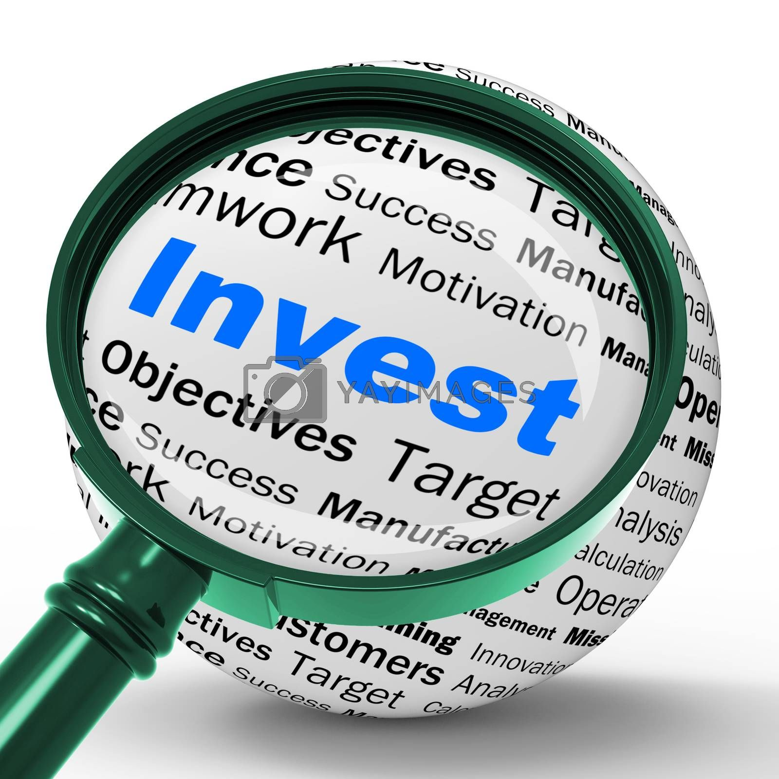 Invest Magnifier Definition Shows Put Money In Real State Or Inv by stuartmiles