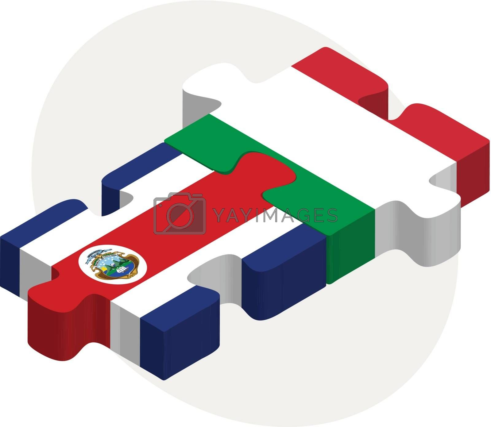 Italy and Costa Rica Flags in puzzle by Istanbul2009