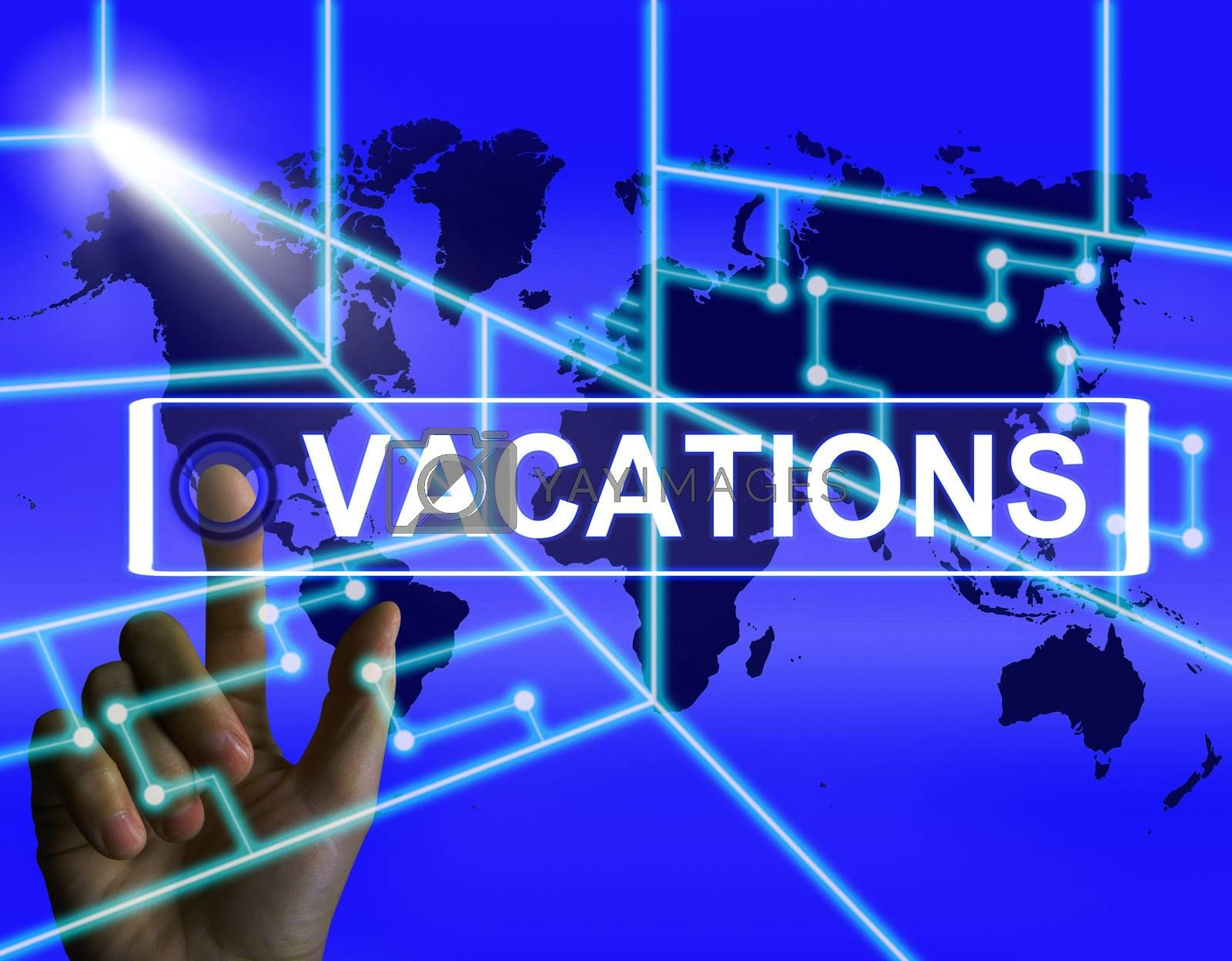 Vacations Screen Means Internet Planning or Worldwide Vacation T by stuartmiles