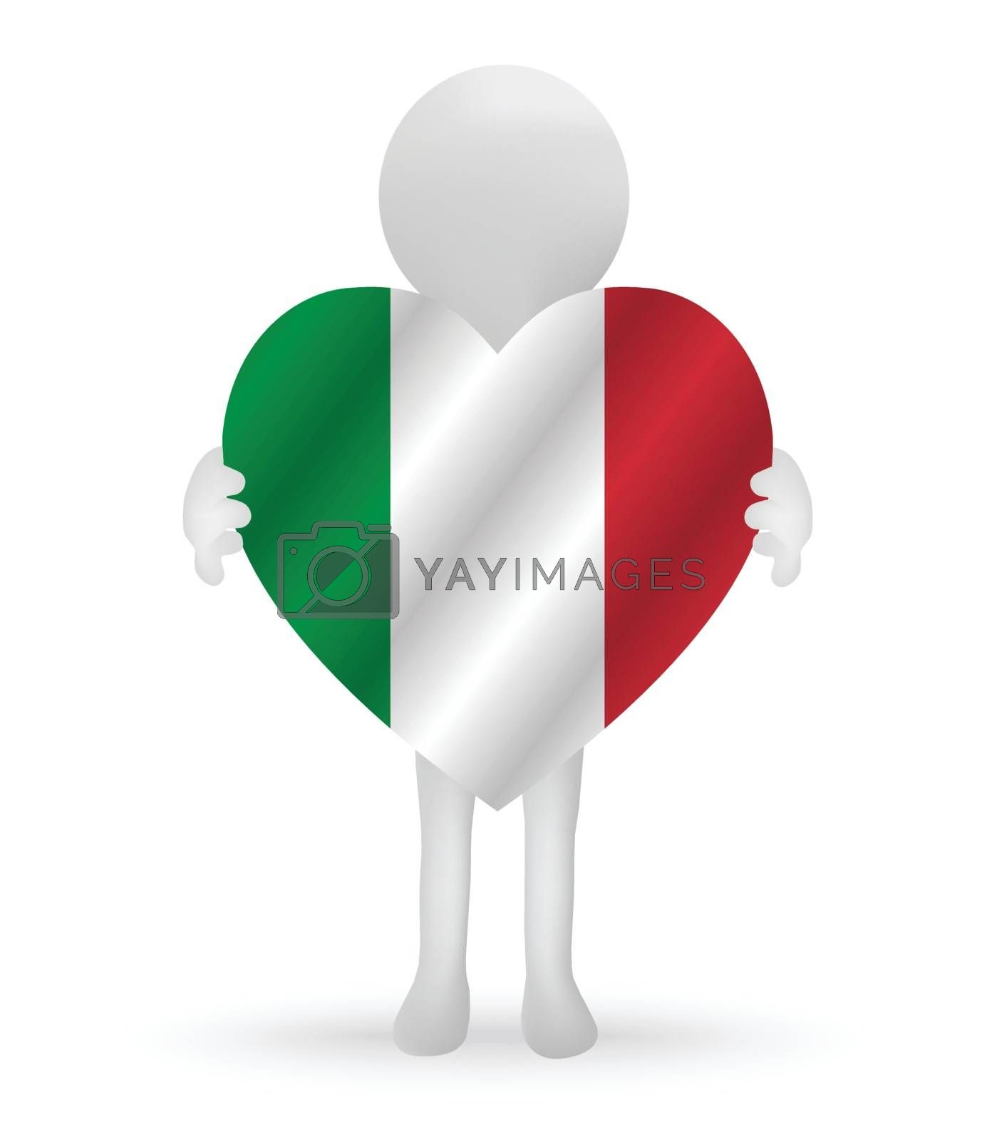 3d man holding a Italy flag by Istanbul2009