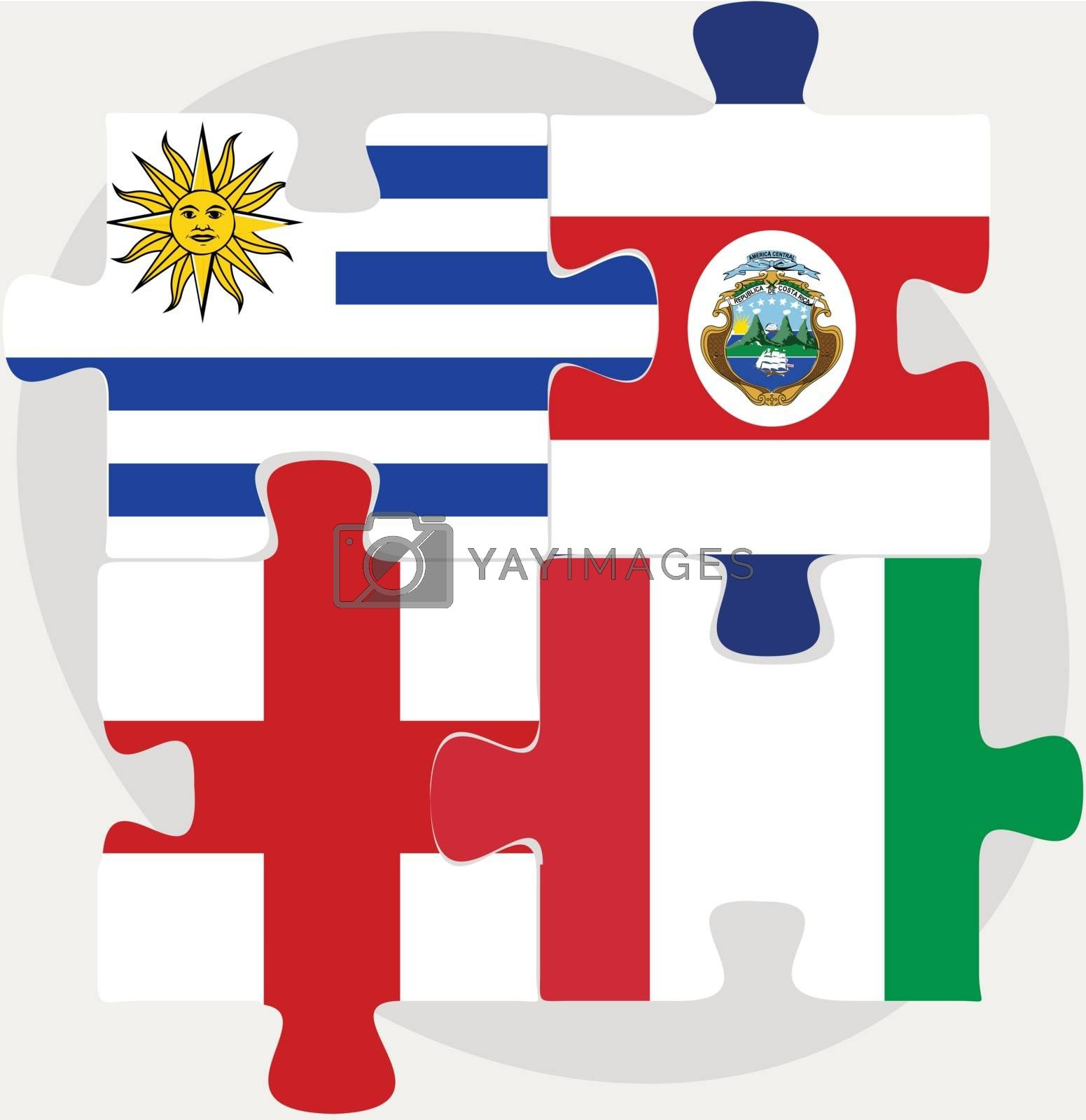 Uruguay, Costa Rica, England and Italy Flags in puzzle by Istanbul2009