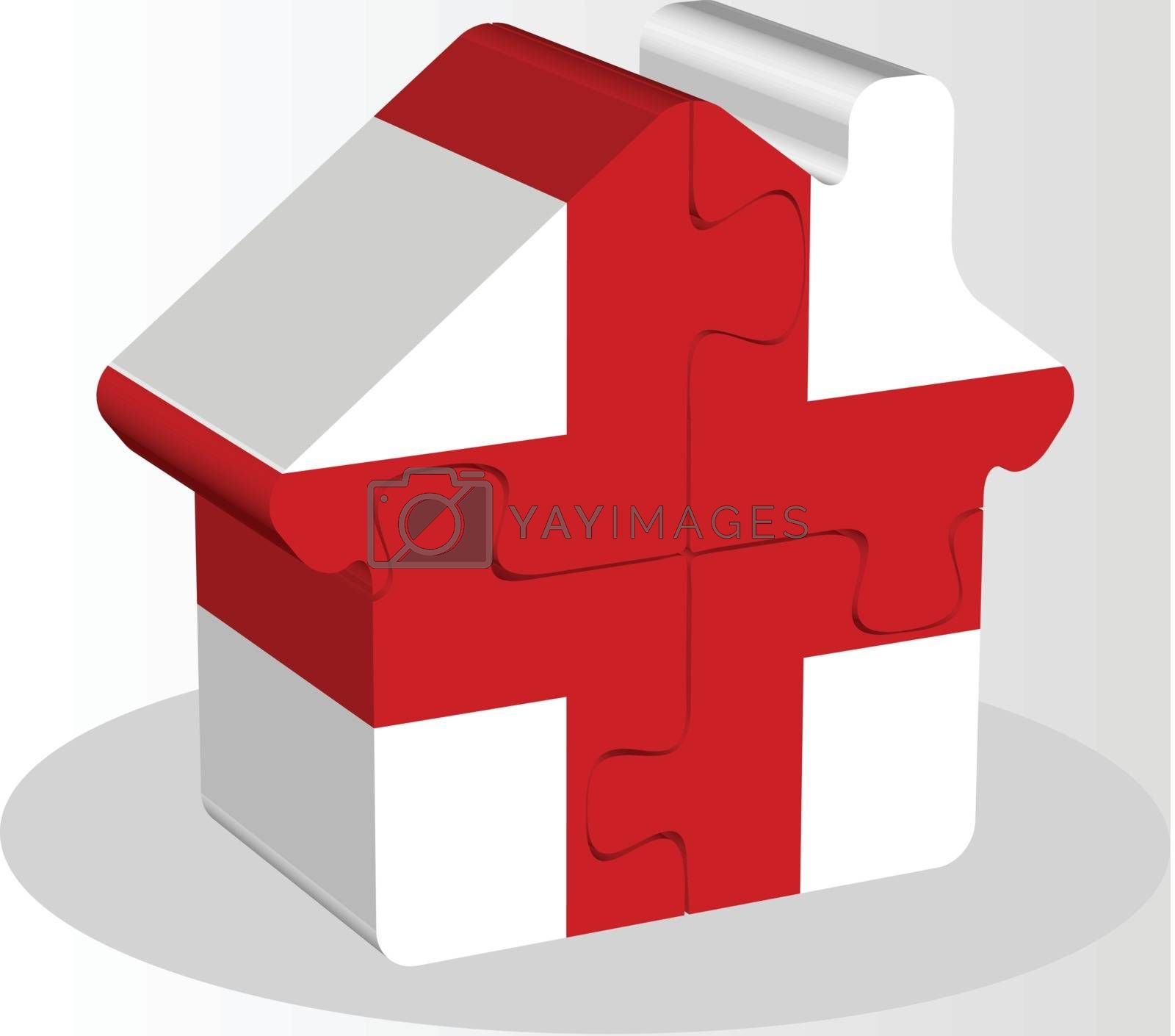 house home icon with England flag in puzzle by Istanbul2009