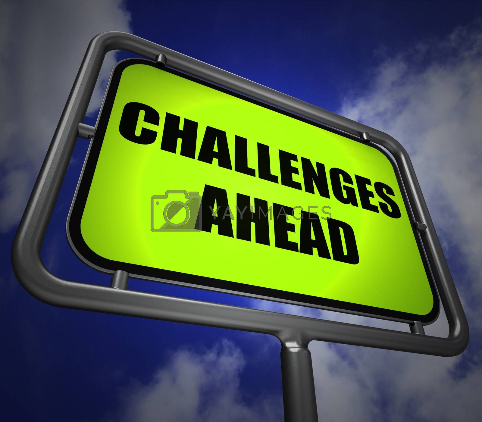 Challenges Ahead Signpost Shows to Overcome a Challenge or Diffi by stuartmiles