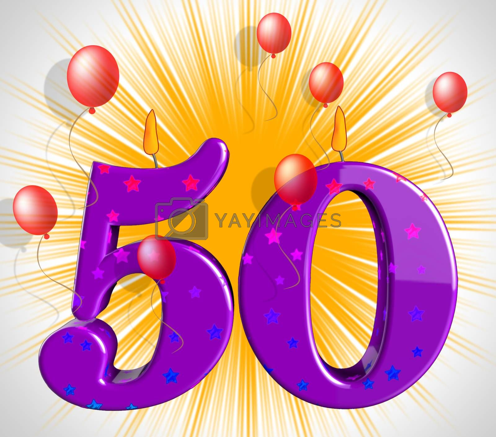 Number Fifty Party Mean Red Wax Or Bright Flame by stuartmiles