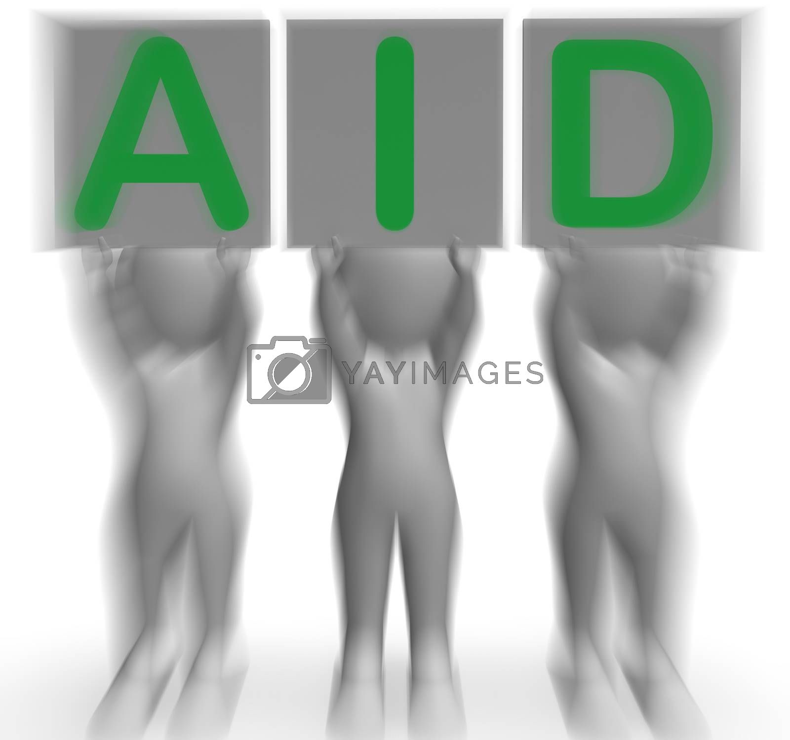 Aid Placards Shows First Aid Assistance And Support by stuartmiles
